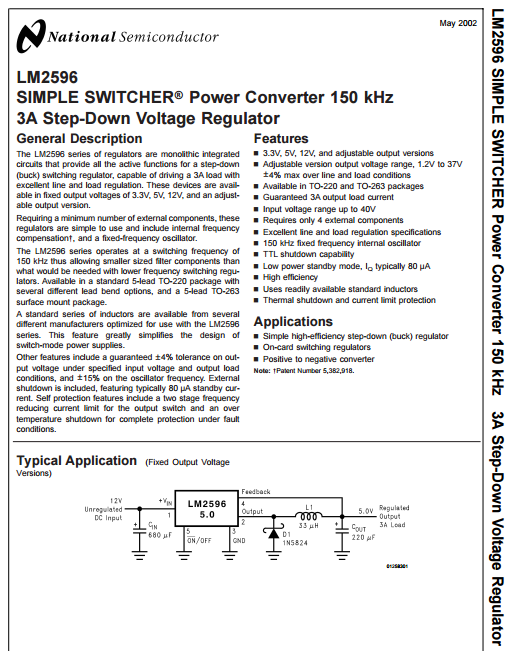 LM2596T-ADJ datasheet - SIMPLE SWITCHER Power Converter 150 kHz 3A Step-Down Voltage Regulator.